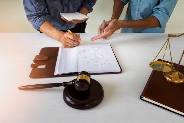 House owner discuss with lawyer  about housing law Premium Photo