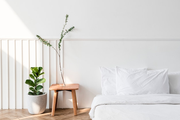 House plants by a mattress on the floor Free Photo
