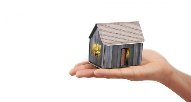 House residential structure in hand Premium Photo