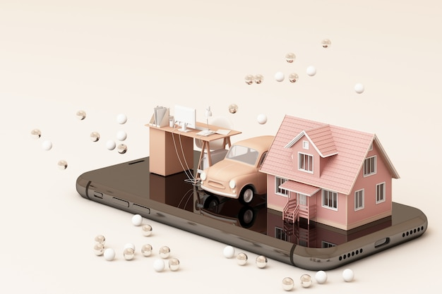 A house and vintage car and working table on the phone in pink tone color 3d rendering Premium Photo