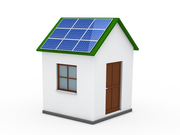 House With A Solar Panel On The Roof Photo Free Download