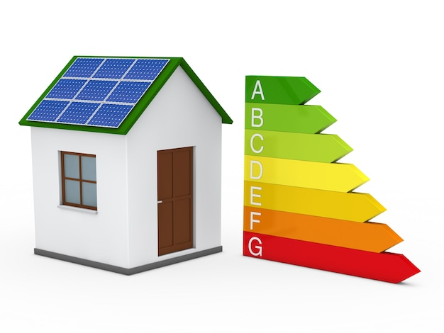 House with a solar panel and energy chart Free Photo