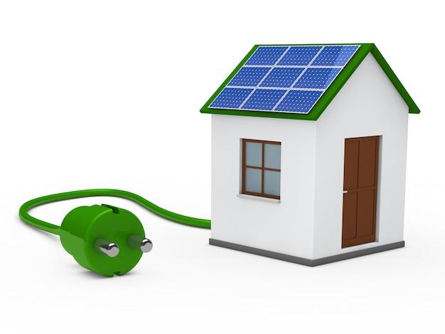 Casa con un pannello solare e una spina verde Foto Gratuite