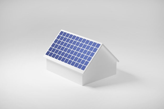 屋根、太陽電池クリーンな電気エネルギー、3 dイラストレーション上の太陽電池パネルのある家。 Premium写真
