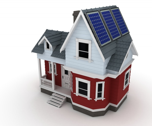 House with solar planels Free Photo