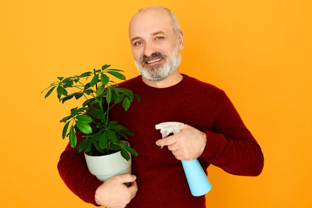 Household, mature people, age and retirement. handsome emotional bearded retired male in sweater helping wife to do housework sprinkling water on green plant using spray bottle, having joyful look Free Photo