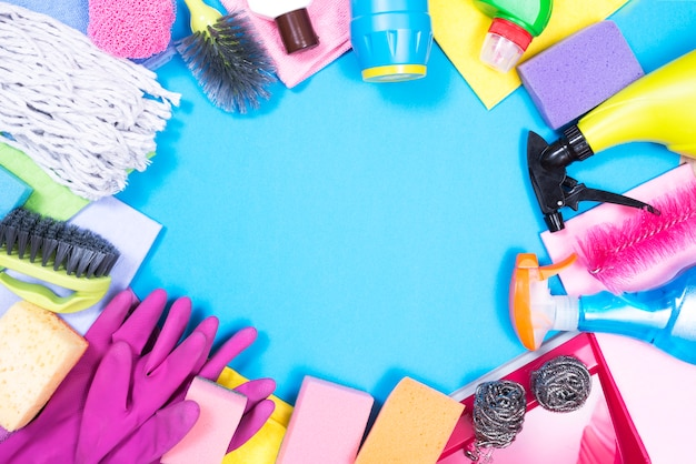 Housekeeping concept with cleaning products Free Photo