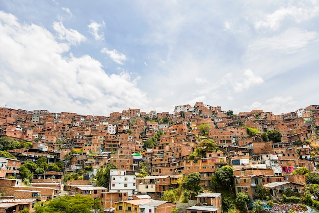 Houses at the city of medellin in antioquia, colombia Premium Photo