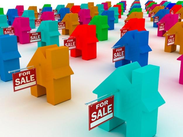 Дома цветные на продажу, 3d рендеринг Premium Фотографии