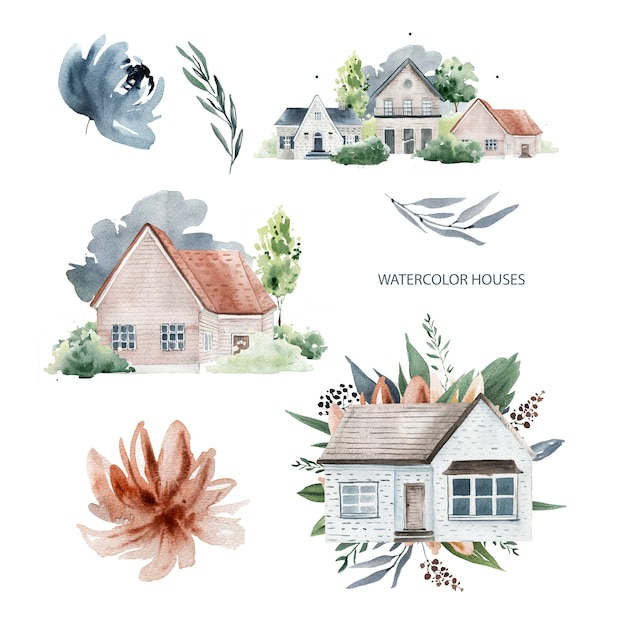 Houses and flowers watercolor Premium Photo