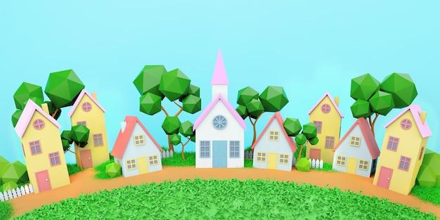 家、晴れた夏の日、おもちゃの家、3dレンダリング、背景 Premium写真