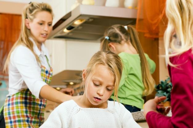 Housewife and children Premium Photo