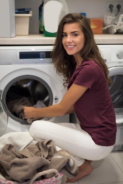Housewife doing her every week housework Free Photo
