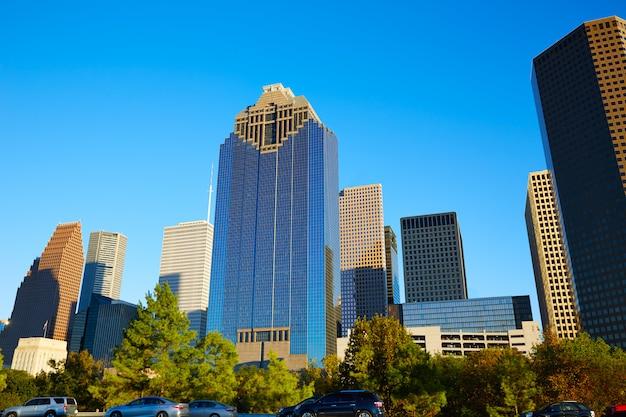 Houston downtown skyline of texas city in us Premium Photo