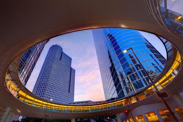 Houston downtown sunset skyscrapers texas Premium Photo