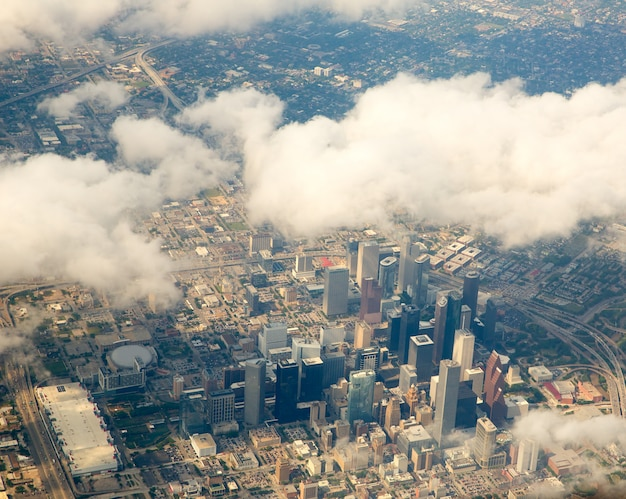 Houston texas cityscape view from aerial view Premium Photo