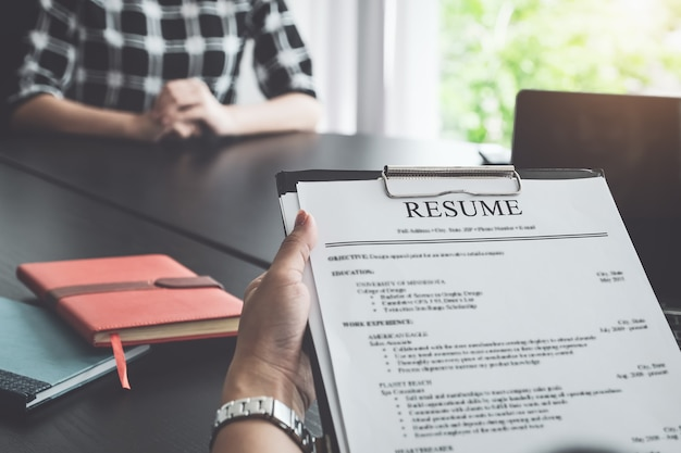 Hr  discussion job interview with  answers from women applying for jobs. Premium Photo
