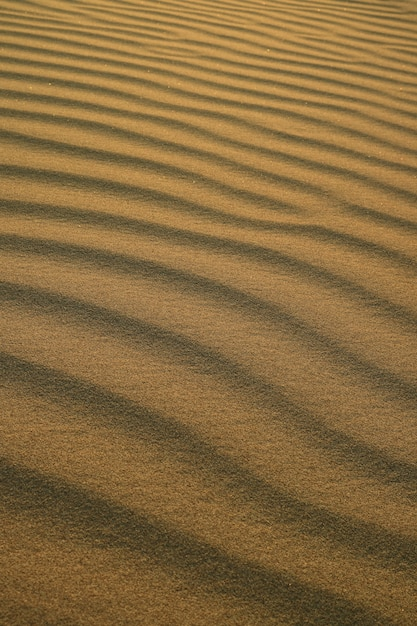 Huacachina砂丘の夕暮れの日差しの砂漠の砂の波紋の抽象的なパターン Premium写真