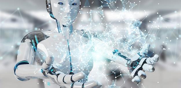 Белая женщина-гуманоид с использованием цифровой глобус hud интерфейс 3d-рендеринга Premium Фотографии