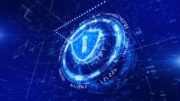 Hud and shield icon of cyber security background Premium Photo