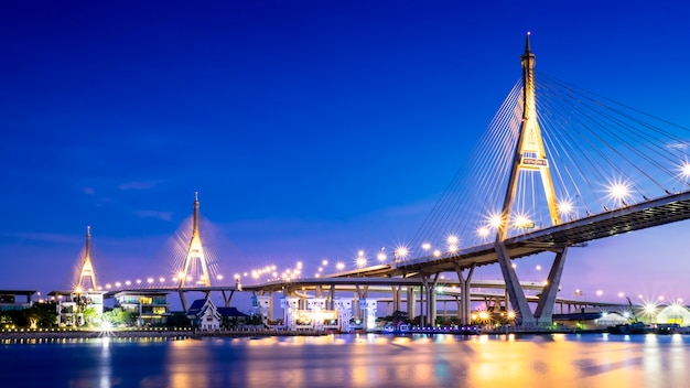 Huge bridge over river in bangkok, thailand Free Photo