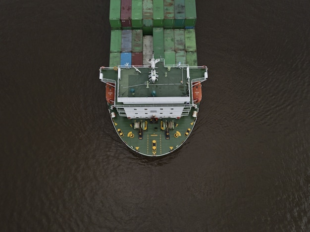 A huge export container ship shot from a high angle Free Photo