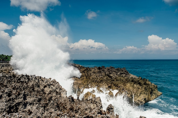 Huge wave crush rock at coast Free Photo