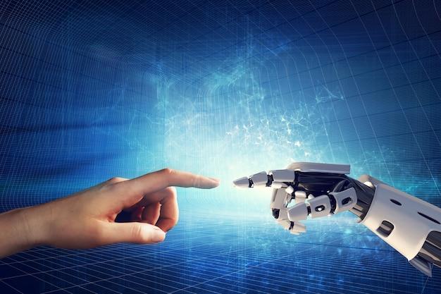人間とロボットの手が指に触れます。 Premium写真