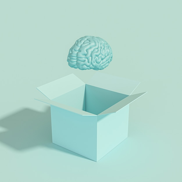 Human brain coming out of a box Premium Photo