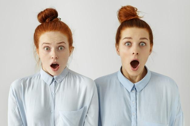 人間の感情。まったく同じ青いシャツを着た2人の美しい生姜の女の子と、口を大きく開けて顎を落とした驚異的な表情の髪型、衝撃的なニュースに驚いた 無料写真