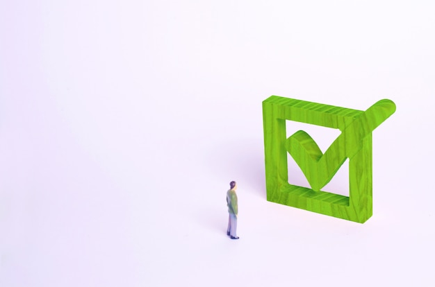 Human figure stand next to a green tick in the box. Premium Photo