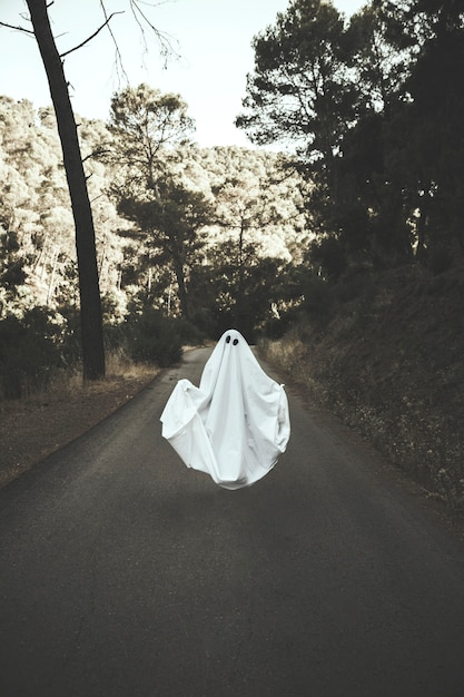 Human in ghost suit levitating on countryside route Free Photo