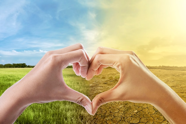 Human hands with heart shape against climate change on the background Premium Photo