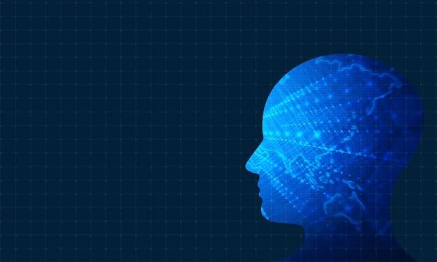 Human head technology background Premium Photo