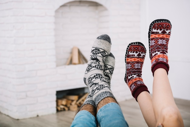 Human legs in socks Free Photo