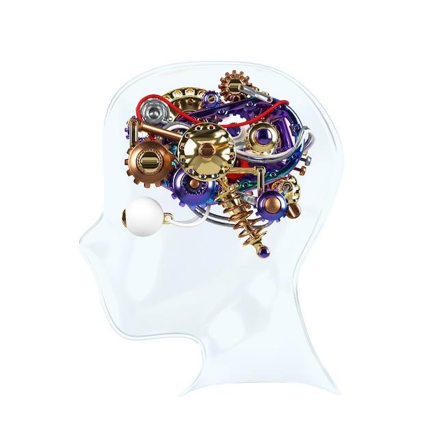 Human machine brain idea model 3d render. Premium Photo