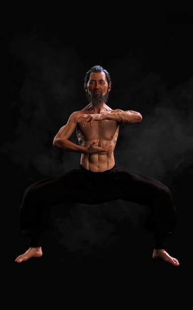 Human martial arts sports training with clipping path Premium Photo