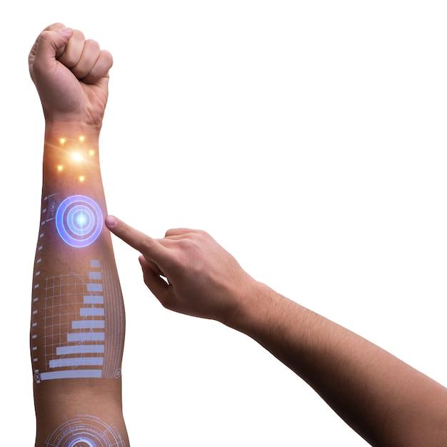Human robotic hand in futuristic concept Premium Photo