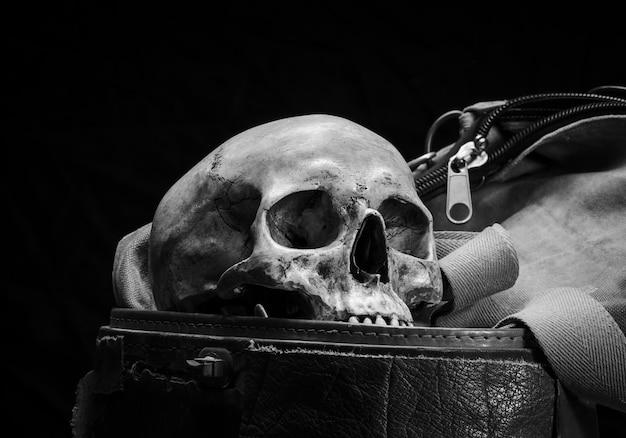 人間の頭蓋骨は白黒の古い革箱に置かれます Premium写真