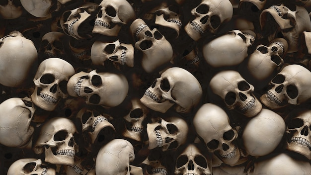 Human skulls background from 3d rendering for halloween and apocalypse concept. Premium Photo