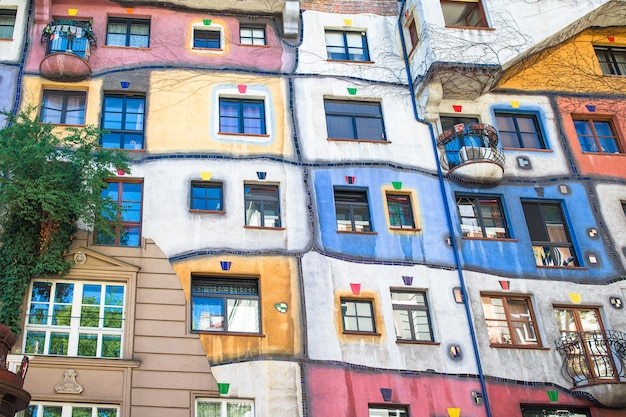 Hundertwasser house with a garden upstairs in vienna, austria Premium Photo