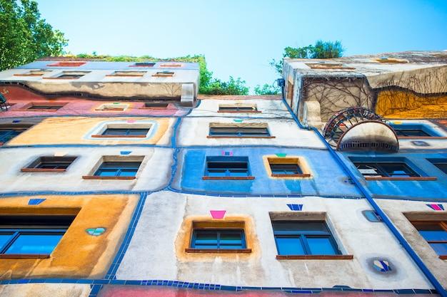 Hundertwasser house with a garden upstairs in vienna, austria Premium Photo