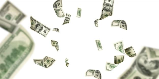 Hundred dollar bill. falling money isolated background. american cash. Premium Photo