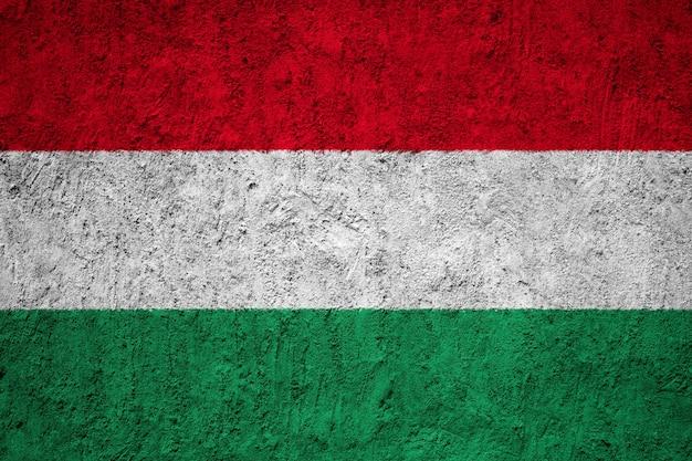 Hungary flag painted on grunge wall Premium Photo