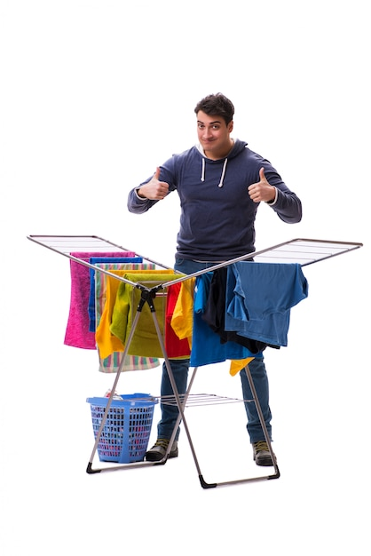 Husband man doing laundry isolated Premium Photo