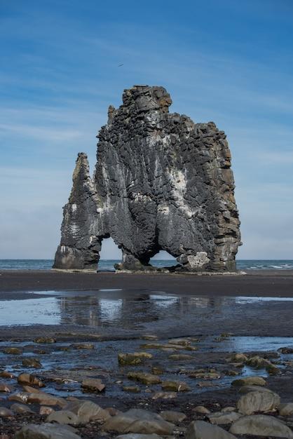 Hvitserkur vertical dinosaur bassalt rock in iceland Premium Photo