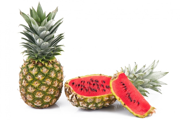 Hybrid fruit pineapple watermelon Premium Photo