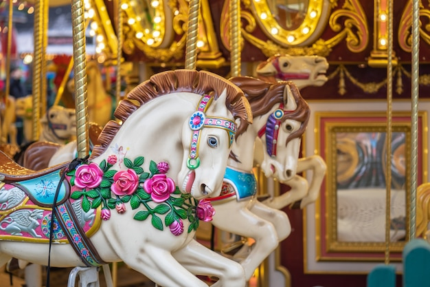 Hyde park, london a carousel, round about, also known as a merry go round Premium Photo