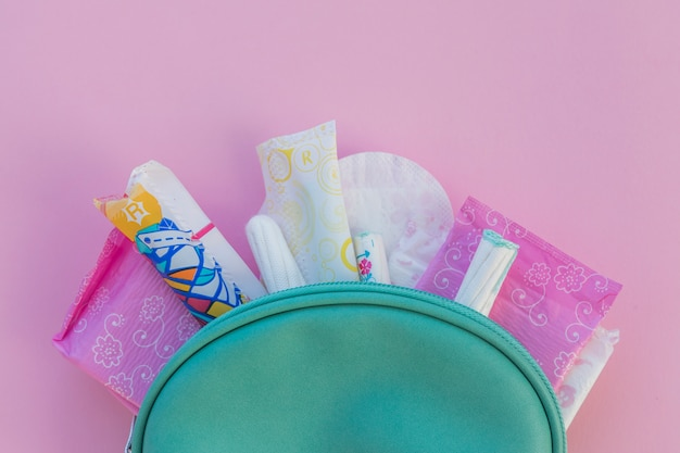 Hygiene products in toilet kit Free Photo
