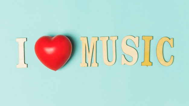 I Love Music Text With Red Heart On Turquoise Background Photo